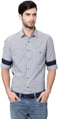 Van Heusen Men's Striped Casual Dark Blue Shirt