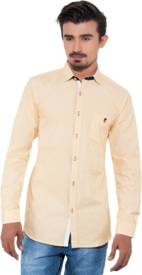 Grey Booze Men's Solid Casual Yellow Shirt