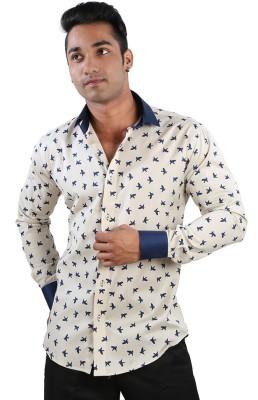 Just Differ Men's Animal Print Casual Beige Shirt