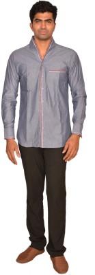 DoubleF Men's Solid Casual Grey Shirt