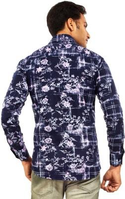 Trinath Men's Printed Casual Blue Shirt