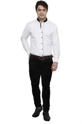 Clubstone Men's Solid Formal White Shirt