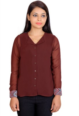 Tantra Women's Printed Casual Brown Shirt