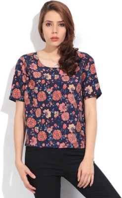 Lee Women's Printed Formal Dark Blue, Orange Shirt at flipkart