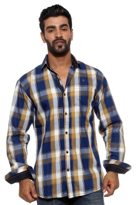 FIFTY TWO Men's Checkered Casual Brown Shirt