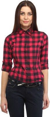 Cation Women's Checkered Casual Pink, Black Shirt