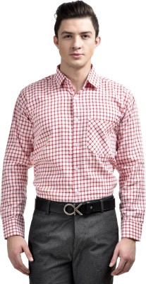 Comfortline Men's Checkered Formal Red Shirt