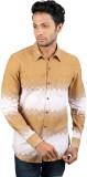 Po Jeans Men's Printed Casual Beige Shir...