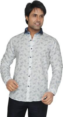 Funky Men's Printed Casual Linen White, Light Blue Shirt