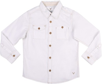 Allen Solly Boy's Solid Casual White Shirt