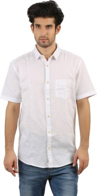 RED SPARROW Men's Solid Casual White Shirt