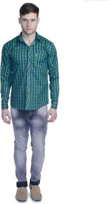 Aligatorr Men's Checkered Formal Green Shirt