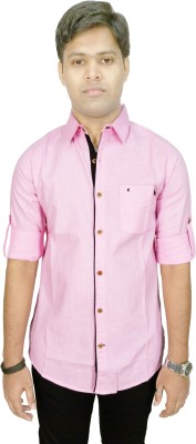 Kuons Avenue Men's Solid Casual Pink Shirt