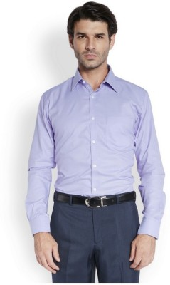 Park Avenue Men,s Solid Formal Purple Shirt