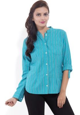 Goodwill Impex Women's Striped Formal Green Shirt