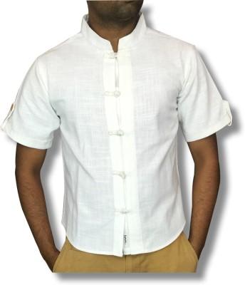 hmm Men's Solid Casual Linen White Shirt