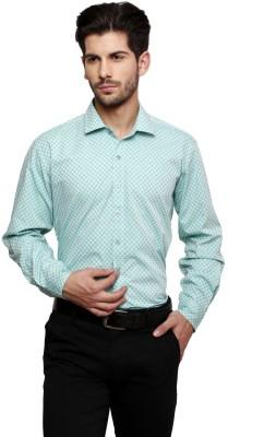 Thousand Shades Men's Checkered Formal Light Green Shirt