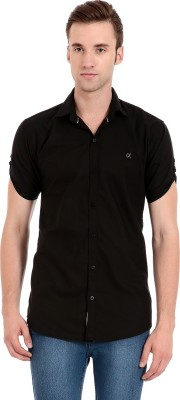 Camrick Men,s Solid Casual Black Shirt