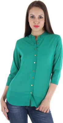 Hotberries Women's Solid Casual Green Shirt