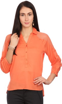 Madame Women's Solid Casual Orange Shirt