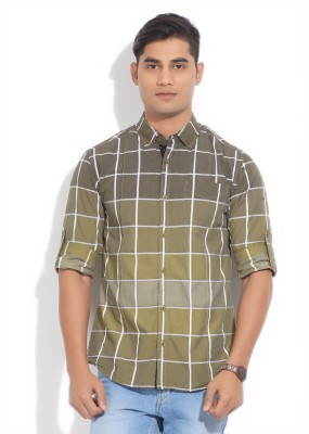 The Indian Garage Co. Men,s Checkered Casual Green Shirt