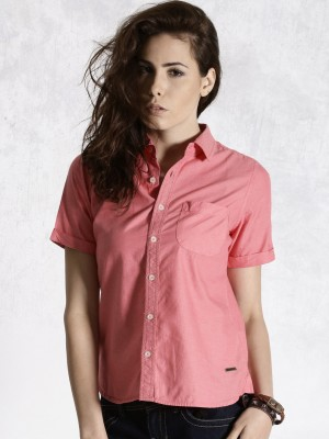 Roadster Women's Solid Casual Pink Shirt