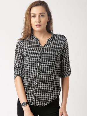 Dressberry Women's Checkered Casual Black Shirt