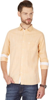 American Swan Men's Printed Casual Yellow Shirt