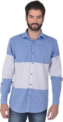 Klub Fox Men's Checkered Casual Blue Shirt