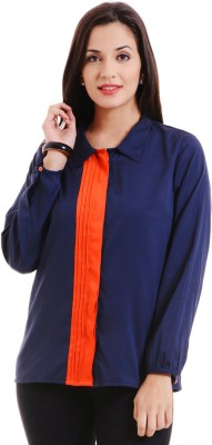 MSMB Women's Solid Casual Blue, Orange Shirt
