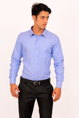 Green Bows Men's Checkered Formal Blue Shirt