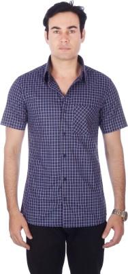 Darzii Men's Checkered Casual Dark Blue, Pink Shirt