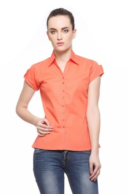 Fasnoya Womens Solid Casual Orange Shirt