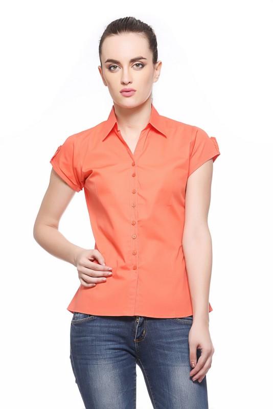 Fasnoya Women's Solid Casual Orange Shirt