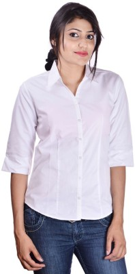 Shop Avenue Women's Solid Casual White Shirt