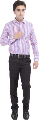 Riwas Collection Men's Striped Formal Linen Pink, Blue Shirt