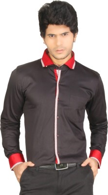 Red Country Men's Solid Casual Black, Red Shirt