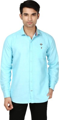 Flakes Fashion Men's Solid Casual Light Blue Shirt