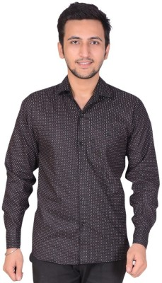 Rank Men's Solid Casual Black Shirt