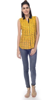 Desi Belle Women's Printed Casual Yellow Shirt
