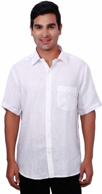 Nanya Men's Solid Casual Linen White Shirt