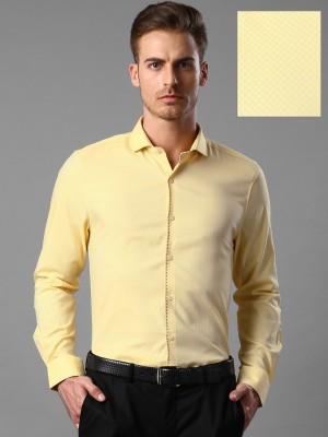 Invictus Men's Self Design Formal Yellow Shirt