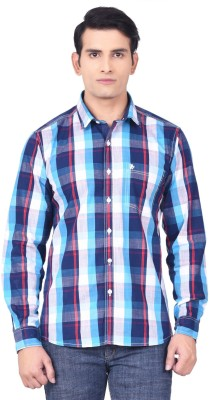 Moustache Men's Checkered Casual Blue, Red Shirt