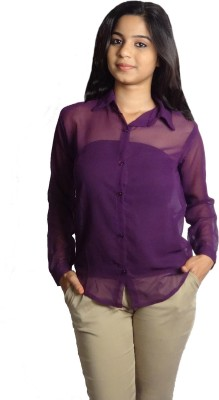 Oomph Factor Women's Solid Formal Purple Shirt