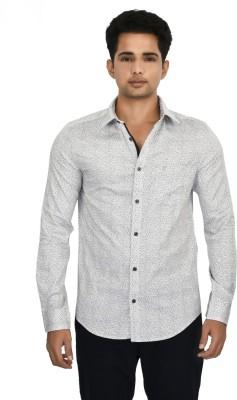 Hackensack Men's Self Design Casual White Shirt