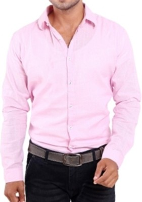 Aaral Men's Solid Casual Pink Shirt