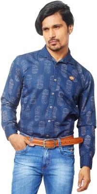AFLASH Men's Printed Casual, Party, Festive Dark Blue Shirt
