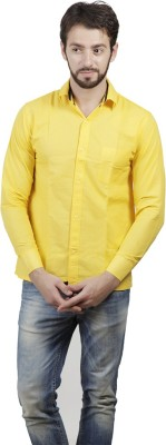 FDS Men's Solid Formal Yellow Shirt