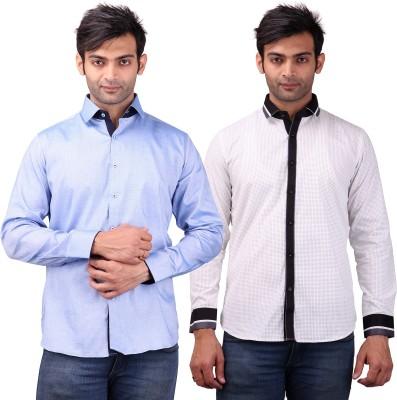 Clubstone Men's Solid, Self Design Formal Blue, White Shirt
