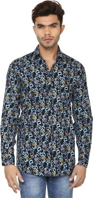 Lowcha Men,s Printed Casual Dark Blue, Grey Shirt